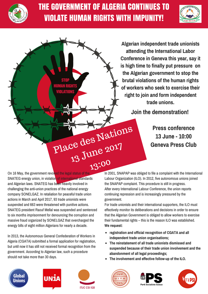 Flyer for demo in support of Algeria
