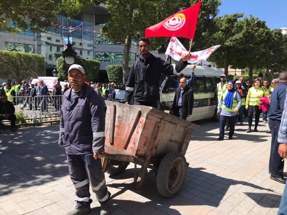 National demonstration of municipal workers from Tunisia's waste management services calling for decent and safe working conditions, April 28th, 2019