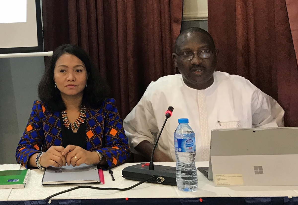 Sani Baba, PSI Regional Secretary for Africa and Arab Countries and Genevieve Gencianos, PSI Migration Programme Coordinator