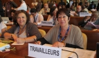 Rosa Pavanelli and Juneia Batista at the International Labour Conference in Geneva