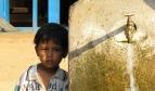 Enfant à côté d'un point d'eau au Nepal, photo par niOS