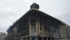Los restos calcinados de la Casa de los Sindicatos, Kiev