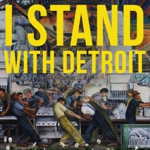 Background image is part of a mural by Diego Rivera called Detroit Industry, North Wall at the Detroit Institute of Arts.