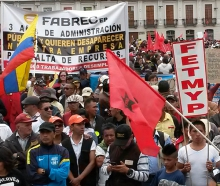 Workers demonstrate in Quito, Ecuador