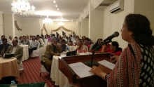 Picture caption: Shama Gulani, General Secretary of ASLHWA addresses the public meeting in Karachi