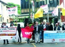 Unionists in Brazil demonstrate in support of their Guatemalan sisters and brothers