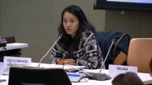 Geneviève Gencianos, PSI Migration Programme Coordinator, at the 14th Coordination Meeting on International Migration