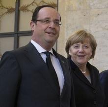 El presidente de Francia, François Hollande, y la canciller alemana, Angela Merkel.