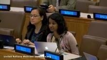 Meera Karunananthan speaks at the UN