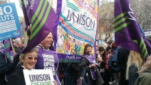 UNISON member at the 4th March demo