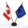 Canadian and European flags