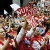"Nurses demonstrating. Banner says ""Nurse ratios save lives"""