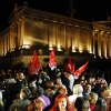 Syriza demonstrators in front of the Acropolis, Athens