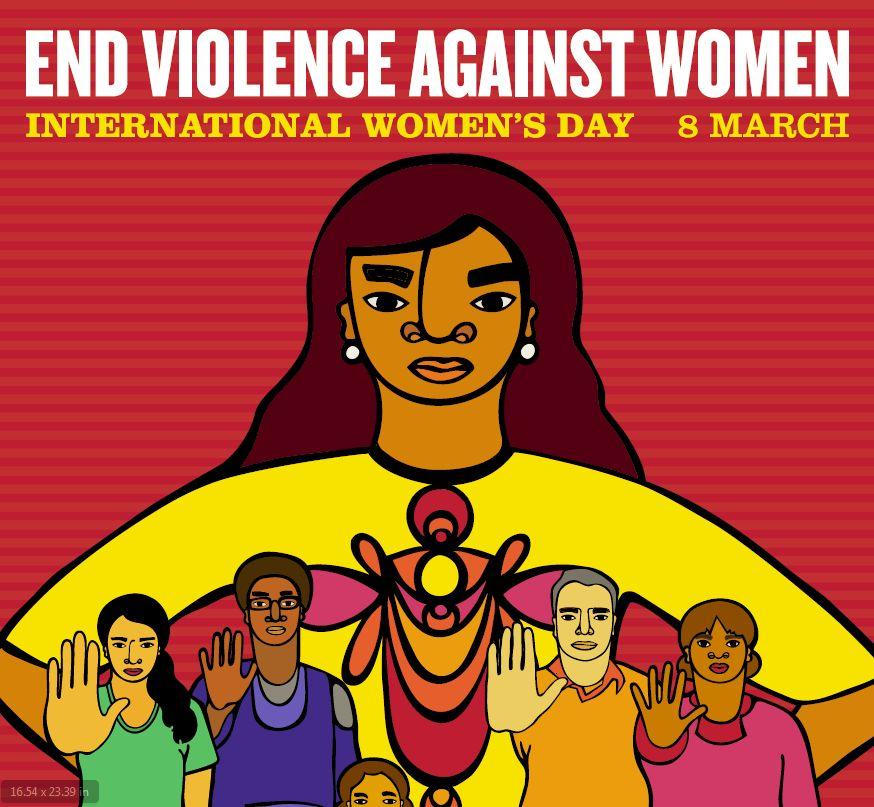 PSI poster for International Women's Day with slogan End Violence Against Women