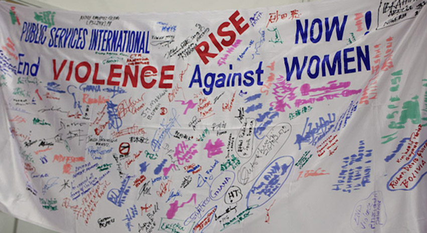 PSI Congress delegates sign to end violence against women