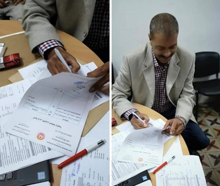Makrem Amairia, General Secretary of the UGTT municipal workers' branch, signed the request for recognition of the professional status of municipal waste personnel before handing it over to the Tunisian Ministry of Labor.