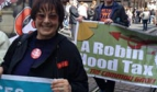Rosa Pavanelli and demonstrators in Geneva
