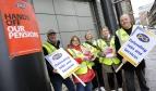 Workers on strike in Glasgow