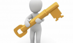 Logo person holding large yellow key