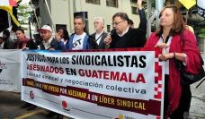 Manifestation en faveur des détenus syndicalistes guatémaltèques