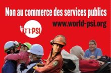 Badge: Non au commerce des services publics