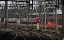 Workers on railway line