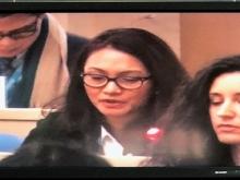 Geneviève Gencianos, ISP, intervenant lors de la réunion du Comité exécutif de l'OMS.