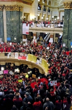 Photo of occupation of Wisconsin state capitol 2011 - Photo by Jessie Reader