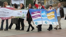 Marching at the GFMD demo in Geneva on 2 December 2011