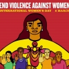 Poster for International Women's Day with heading End violence against women